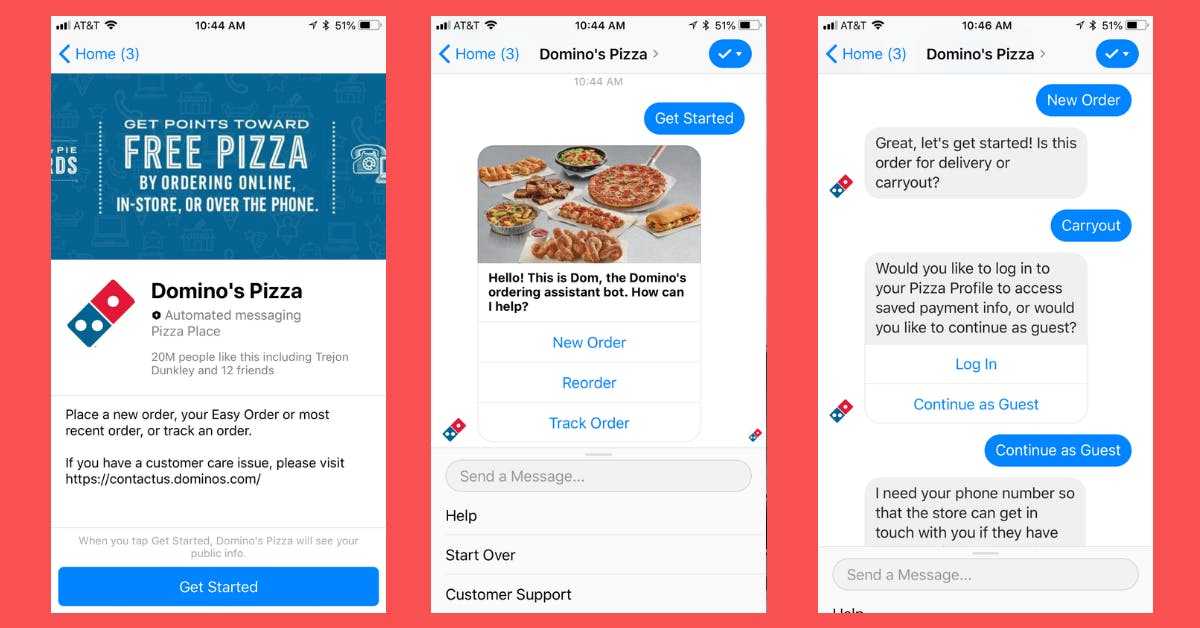 Dominos pizza chatbot