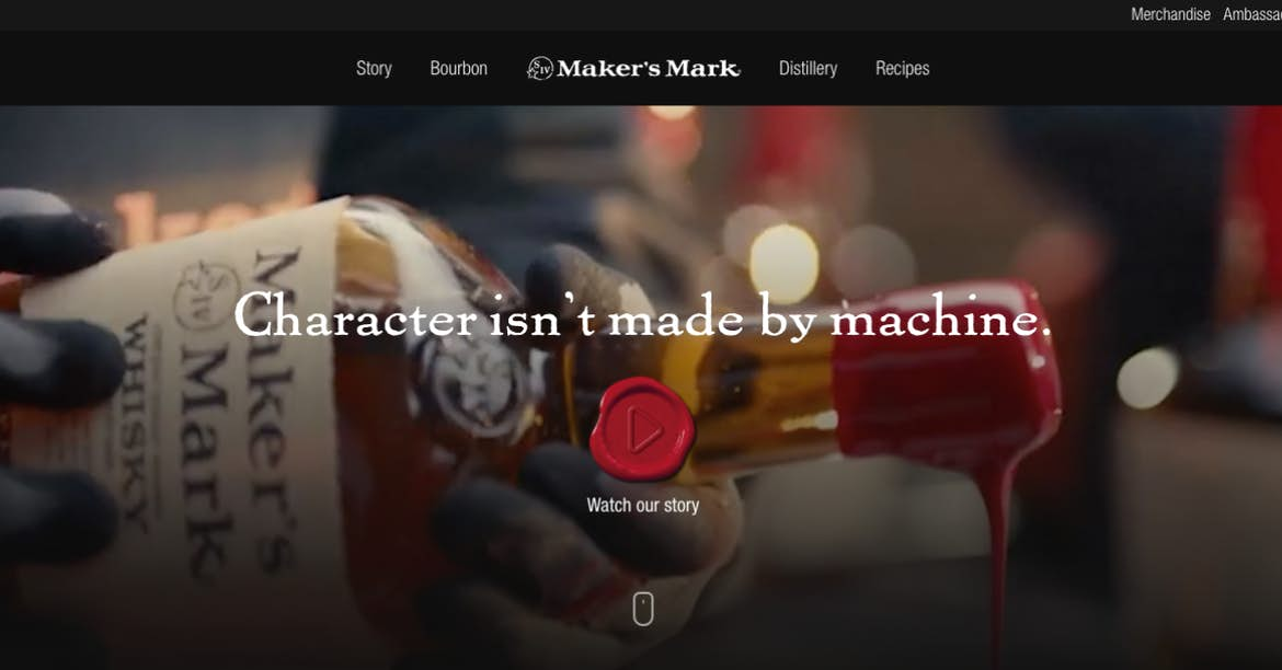 Maker's Mark call to action
