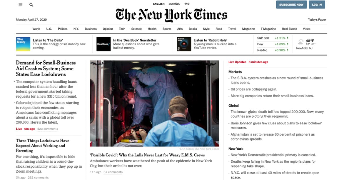 New York Times gray website