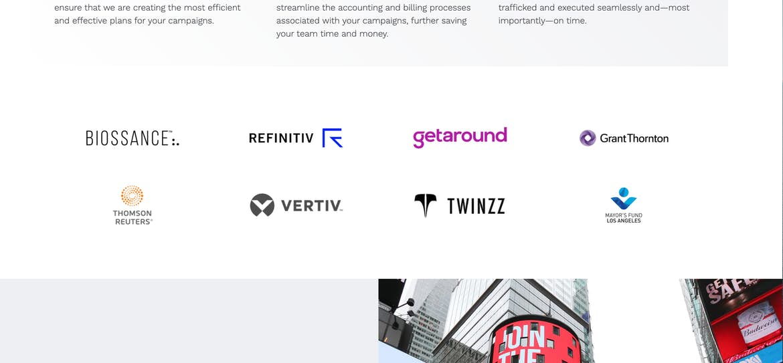 Agency672 Partner logos homepage design