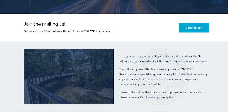 Renew Atlanta website leading content block