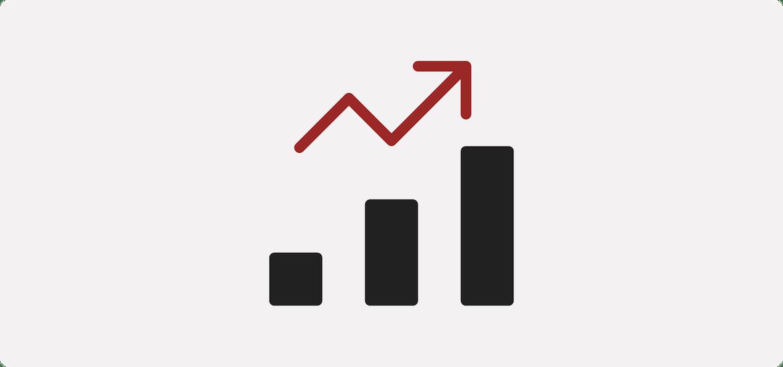 an arrow climbs a bar graph to show an upward trend