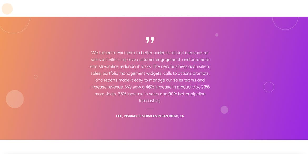 Excelerra Software block testimonial homepage
