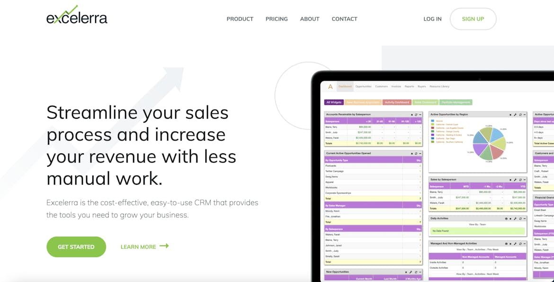 Excellera Software website web design homepage hero message