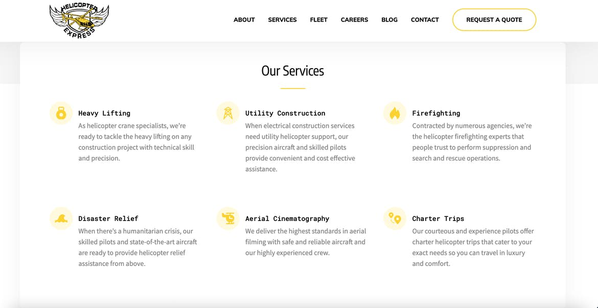Helicopter Express website services overview