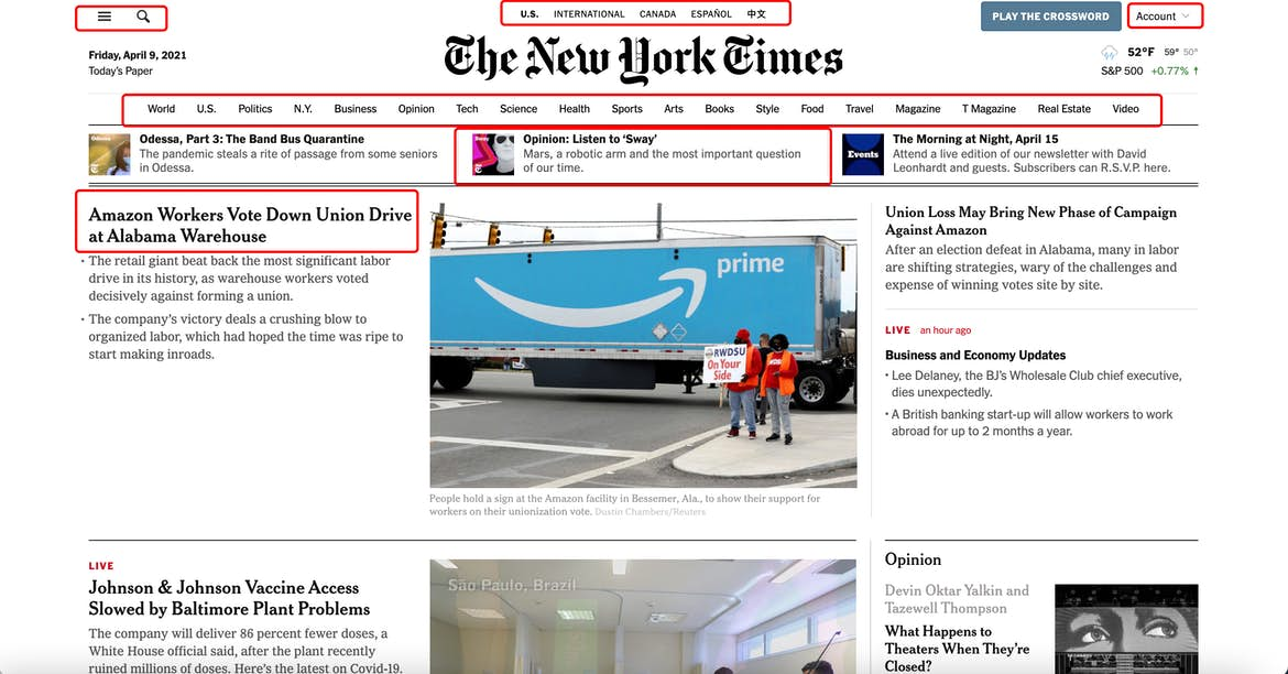 New York Times homepage with red marks for navigation