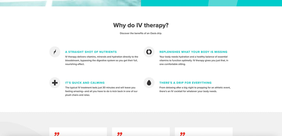 Oasis Hydration homepage design element why do IV therapy
