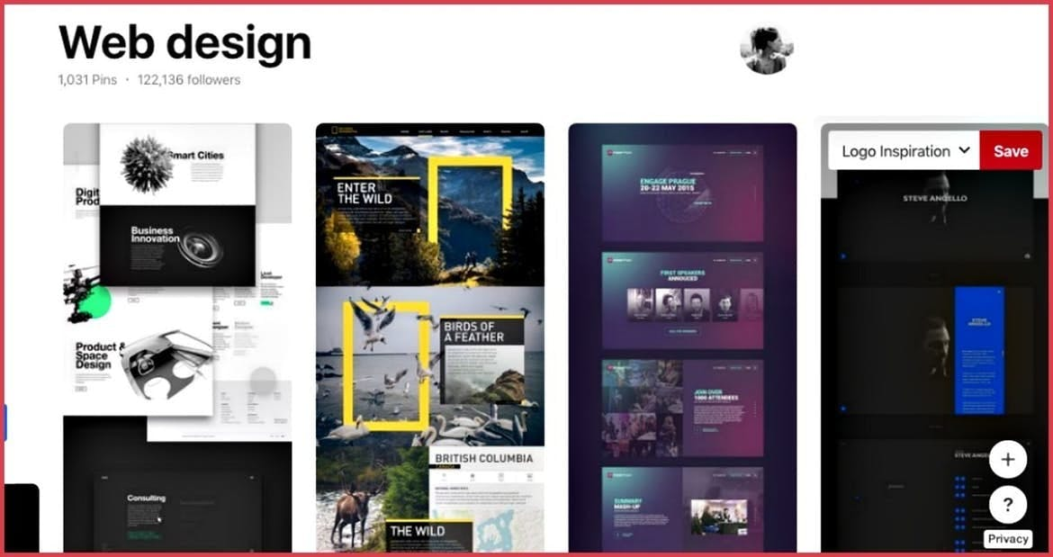 pinterest board of web design inspiration