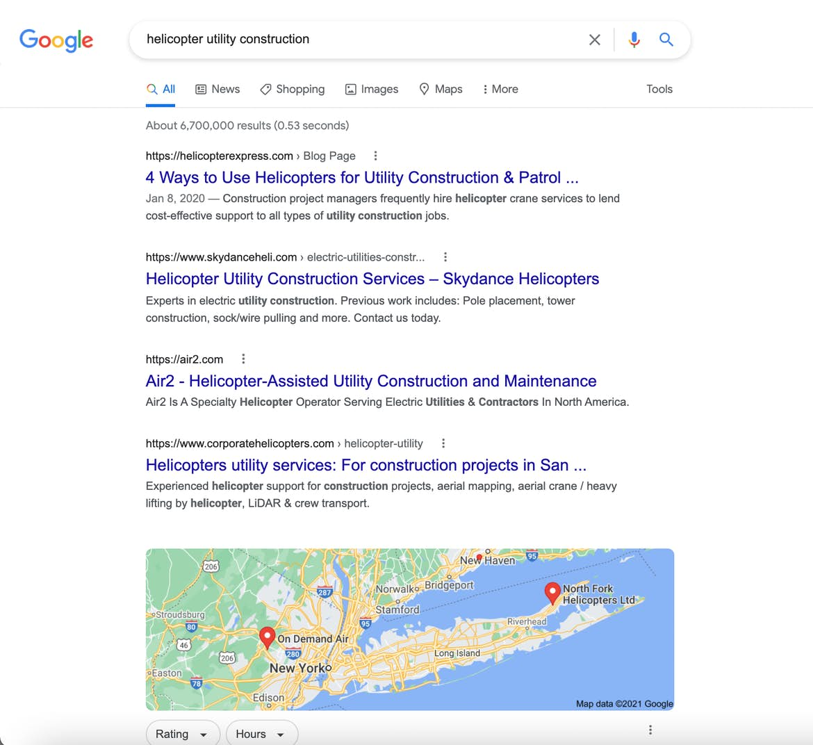 """Search results for """"helicopter utility construction"""""""