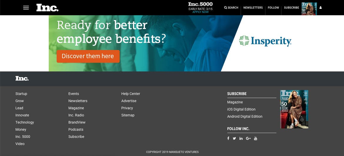 INC footer menu