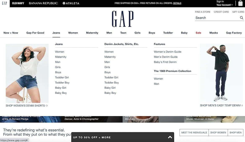 GAP navigation menu example