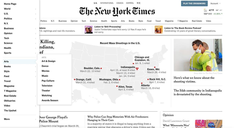 New York Times full drop down menu example