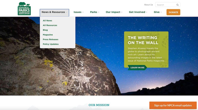National parks website hierarchical navigation menu example