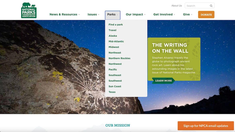 National parks website hierarchical navigation menu examples