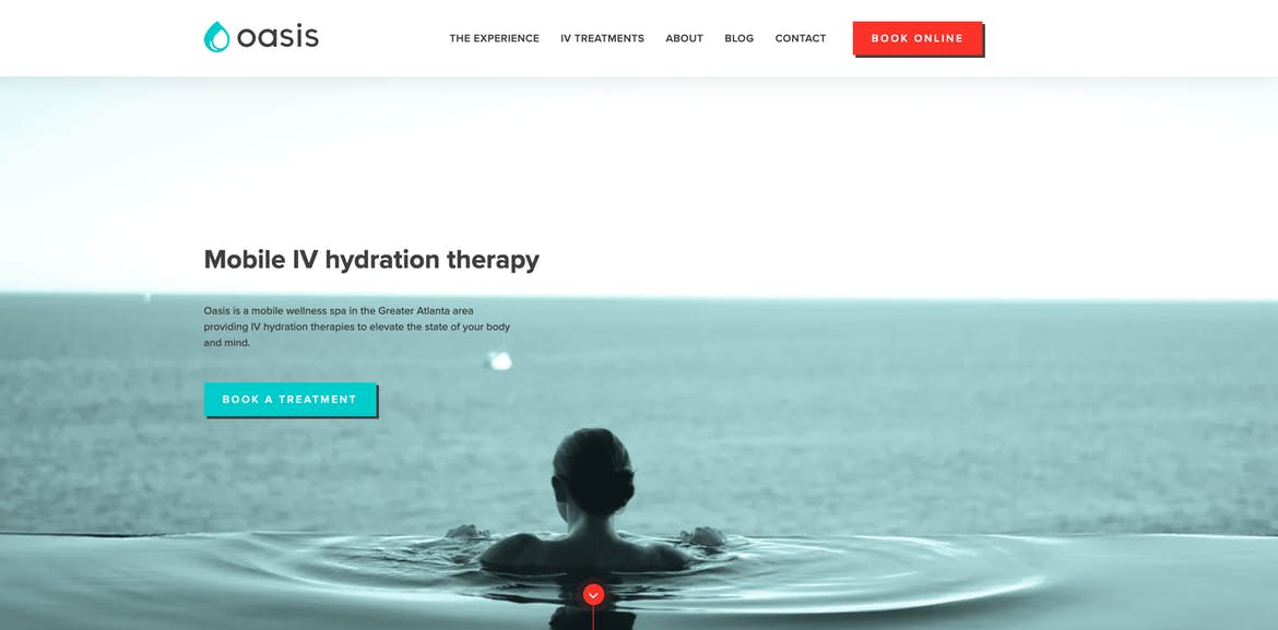 Oasis Hydration homepage