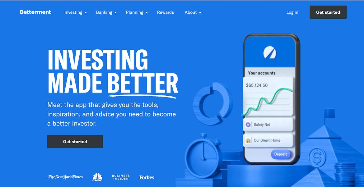 The hero of Betterment's website, showcasing an authoritative and vibrant blue