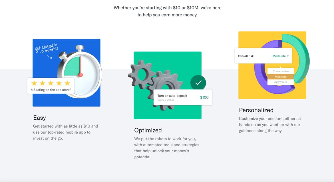 Further down Betterment's homepage, showcasing adjacent greens and yellows