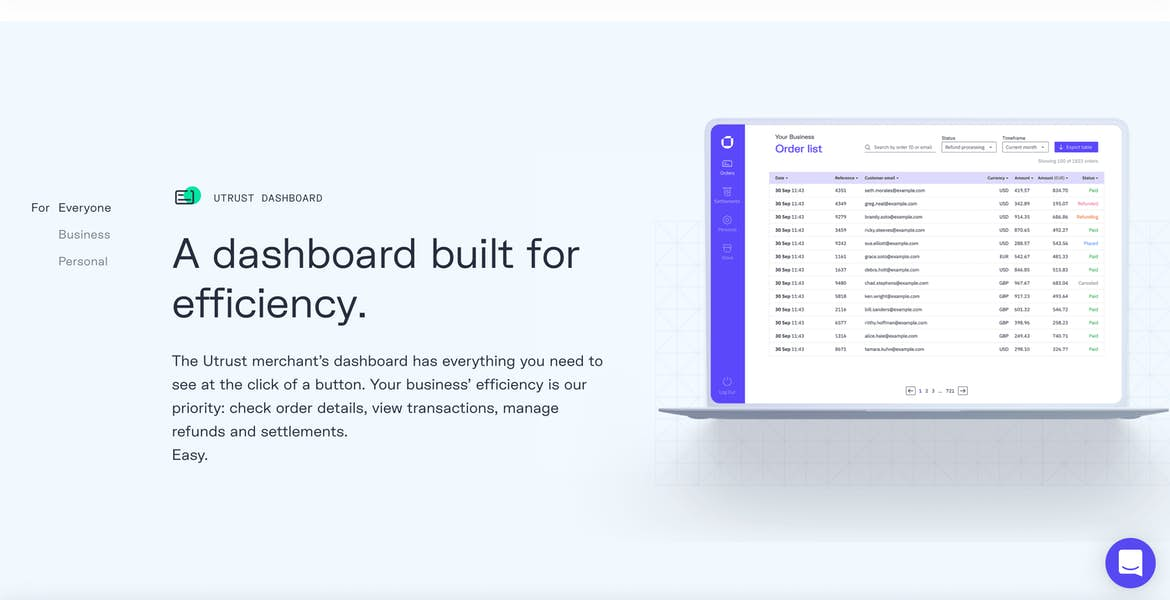 a product description on Utrust's homepage