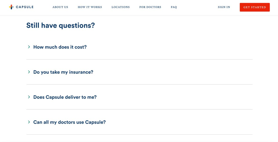 an image of Capsule's FAQ feature on its homepage