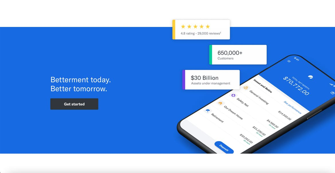 the call to action on the bottom of Betterment's homepage