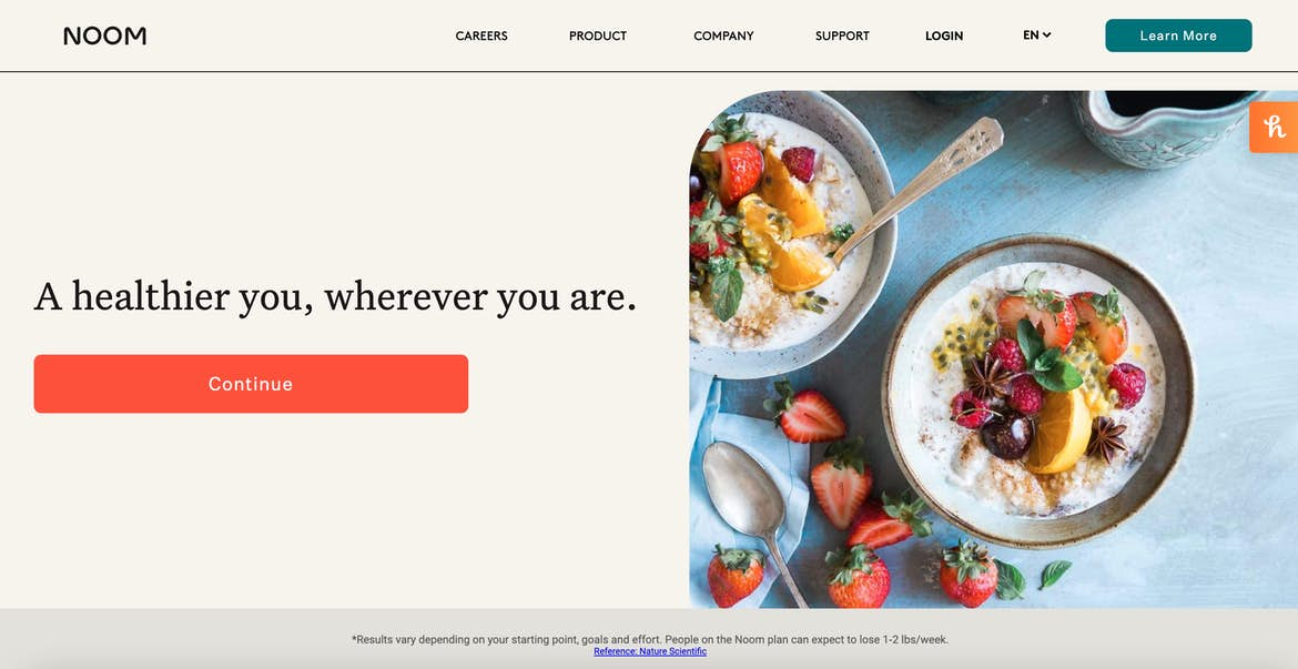 the homepage of Noom, which features an immediate form