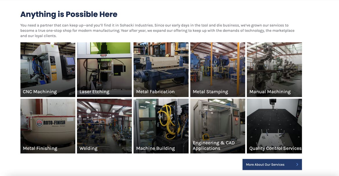 Sohacki Industries services overview homepage