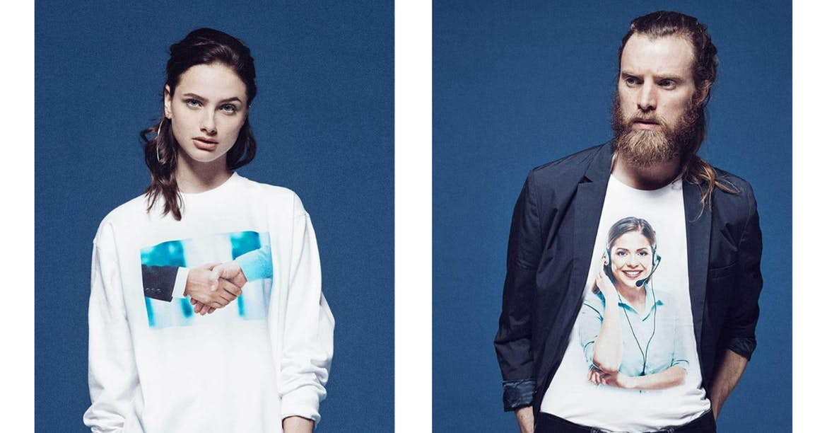 Stock photo cliches printed on clothing