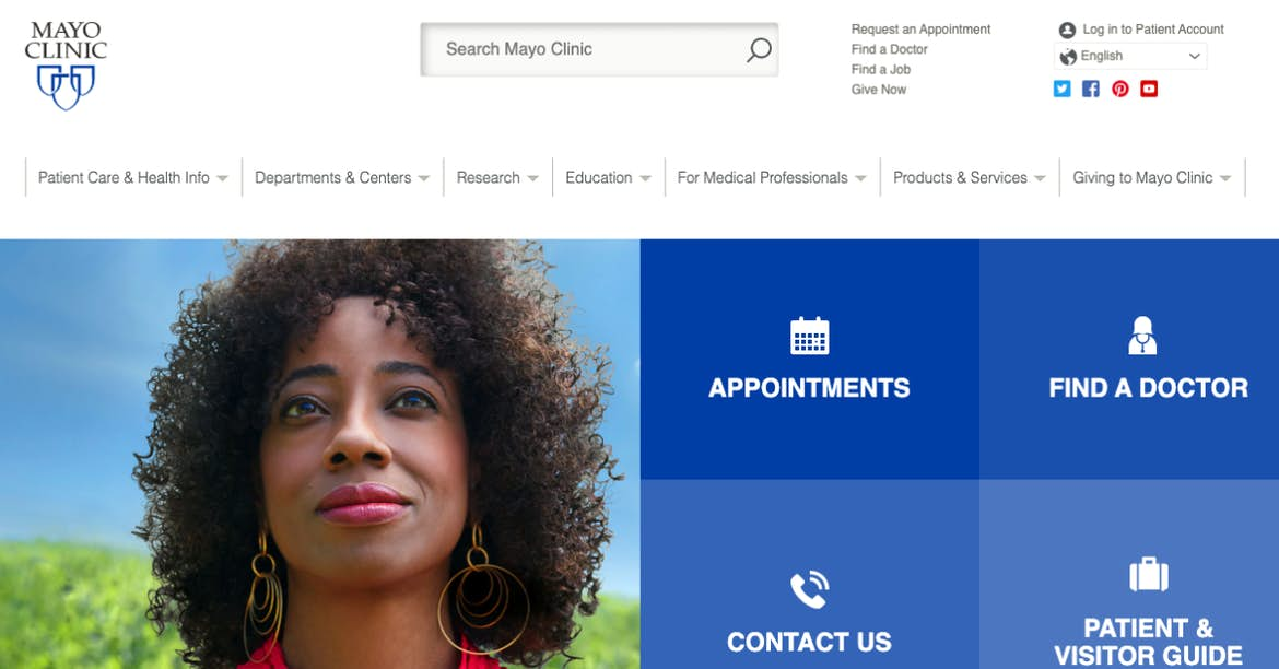 mayo clinic blue website