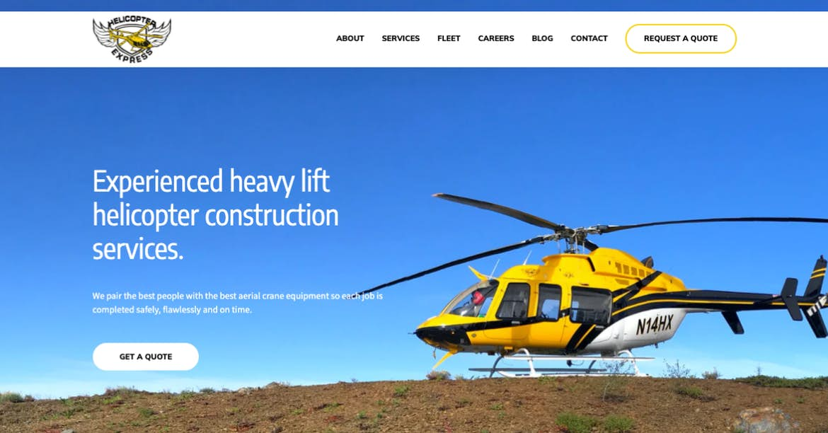 Helicopter Express yellow website