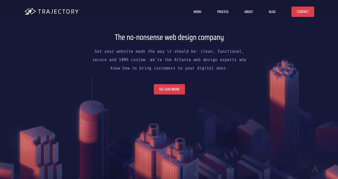 Trajectory web design website homepage hero message