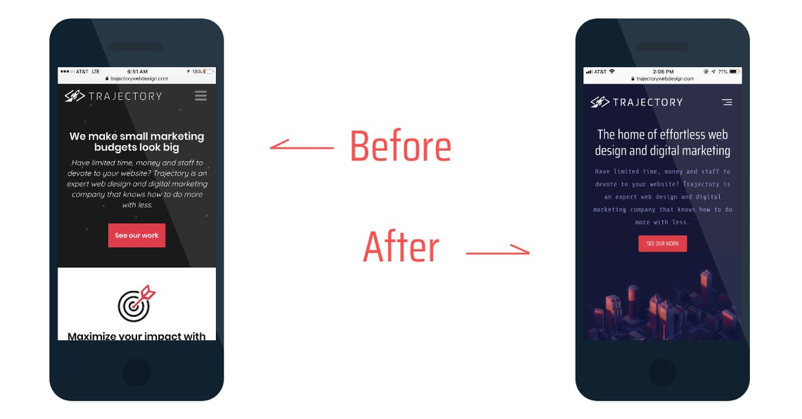 before and after web design
