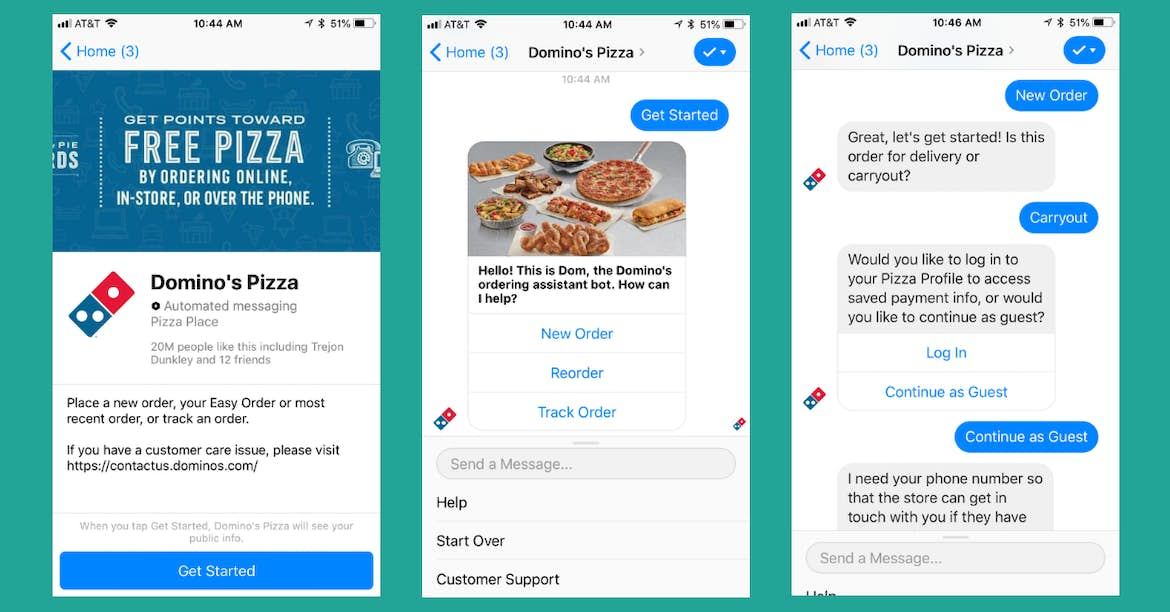 Dominos Pizza Facebook Messenger chatbot