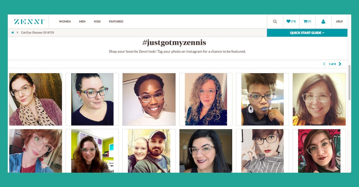 zenni optical branded hashtag and social media feed on website