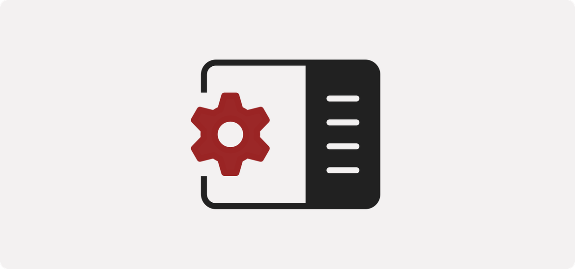 gear next to a simplified graphic of a web page