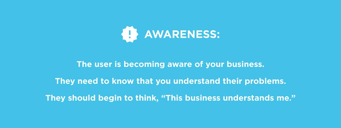 Web design and the awareness stage: you need to connect with users
