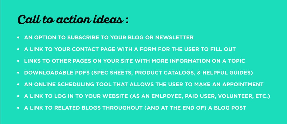 There are many ways to include calls to action in your website design