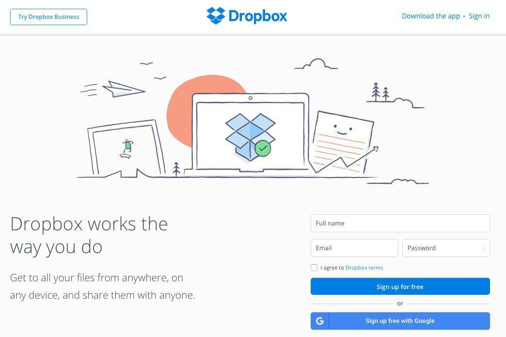 Dropbox use a blue and white design with a form