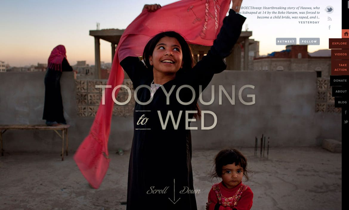 Emotion-evoking hero image example from Too Young to Wed.