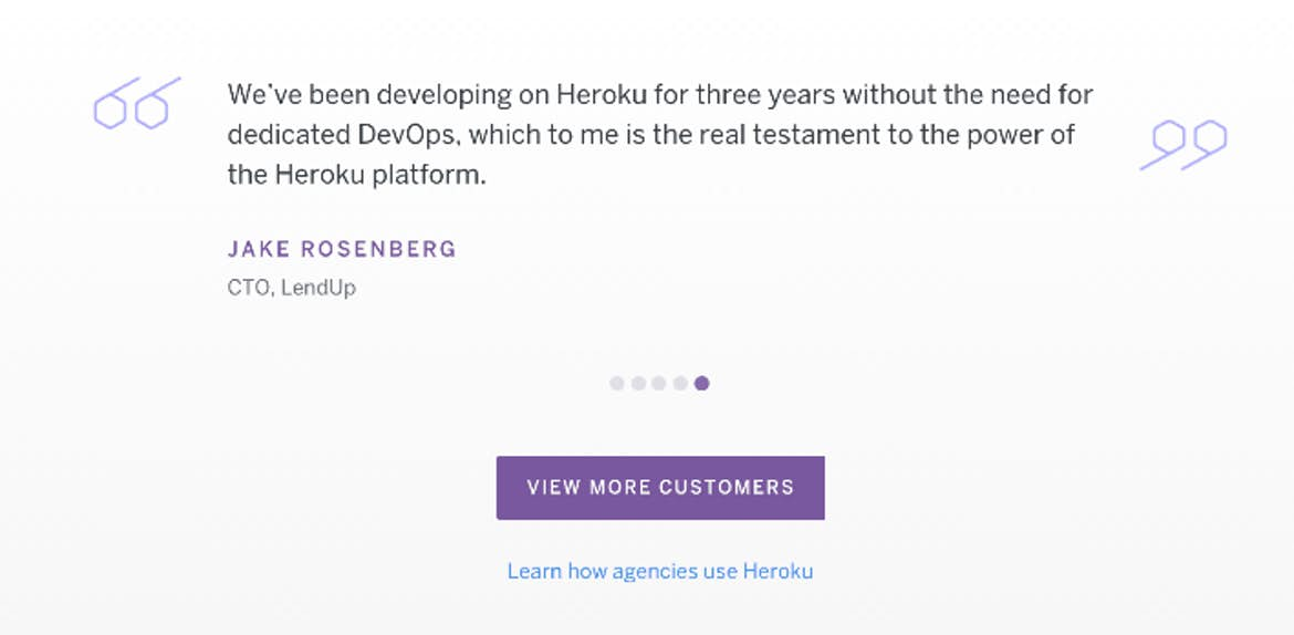 Heroku uses testimonials as a sales tool on their website