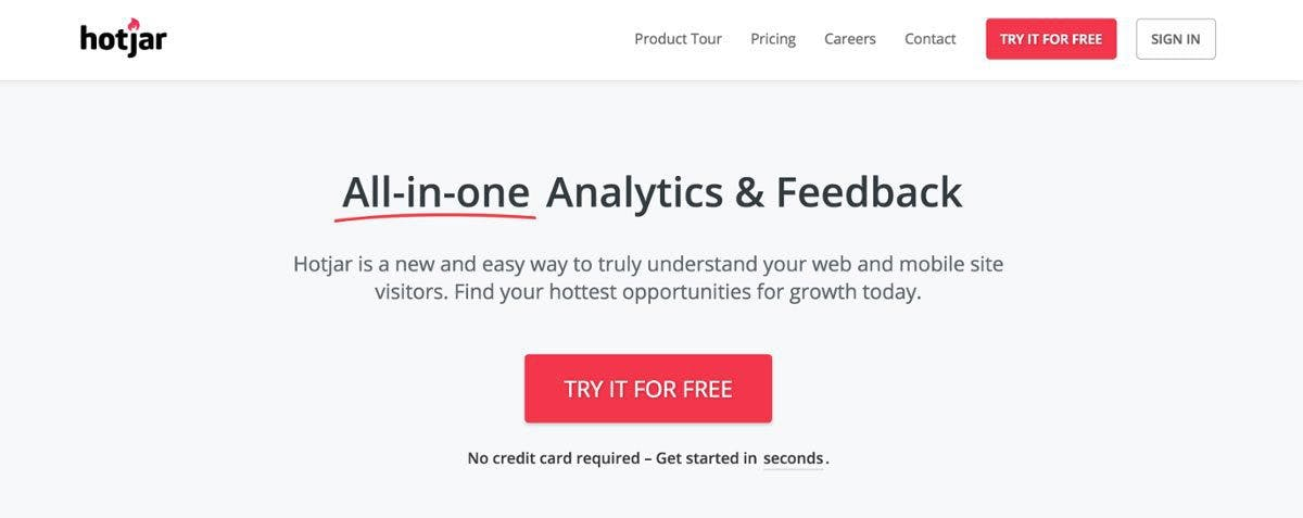 Hotjar urges you to try their product for free