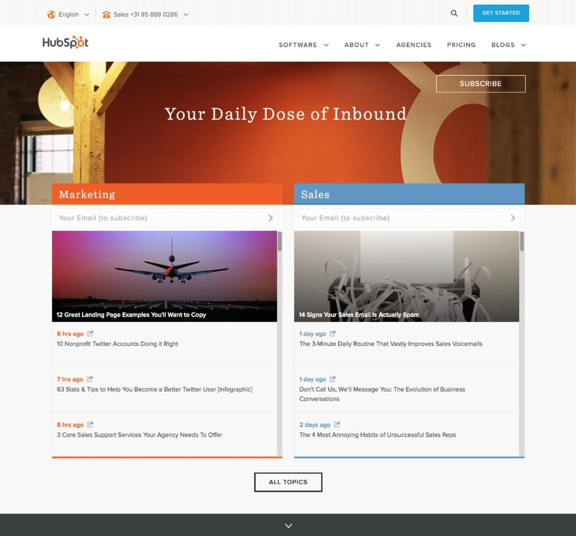 HubSpot features three CTAs on their main blog page