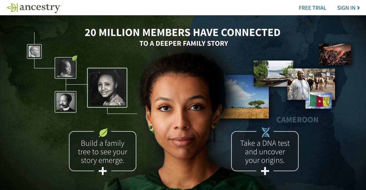 Human-centric hero image example from Ancestry.