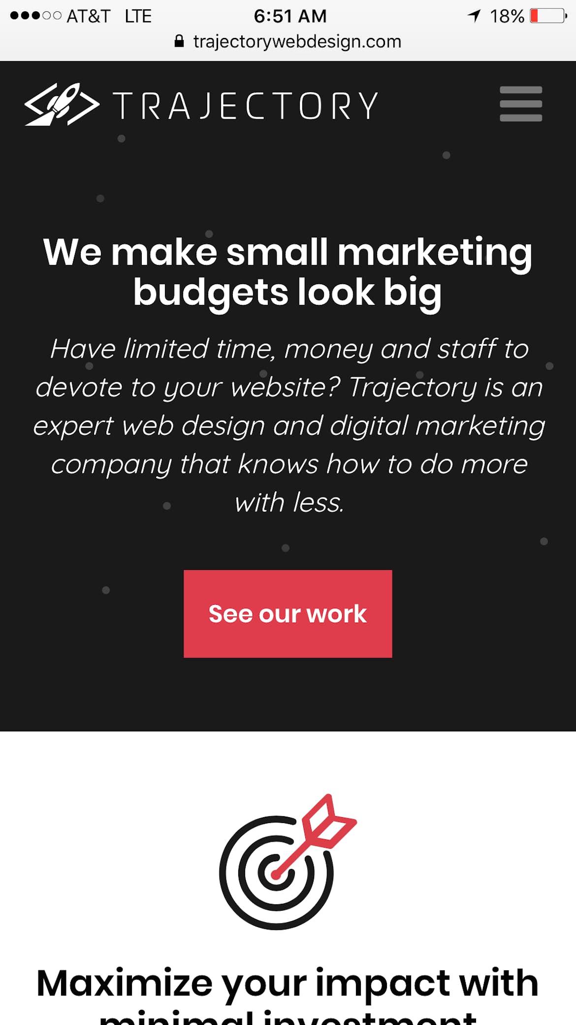 Trajectory web design mobile site