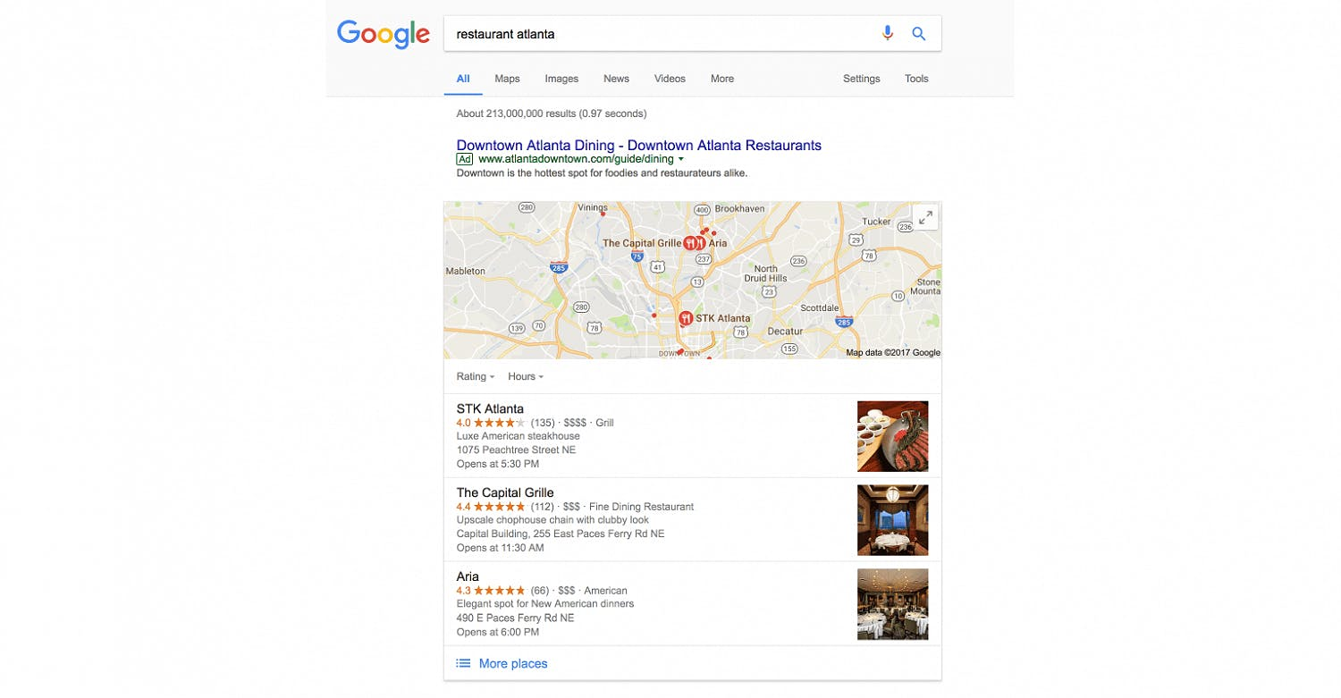 Google's Local Pack displays 3 map results before organic results
