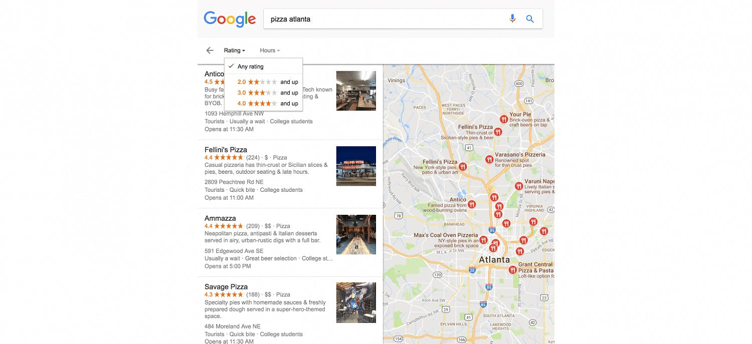Users can now filter their map search results by business ratings