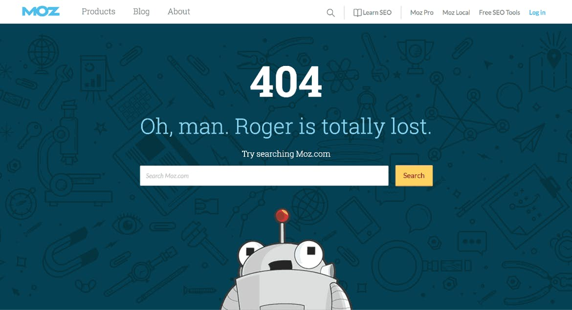 Moz packs a punch of personality when users find 404 pages