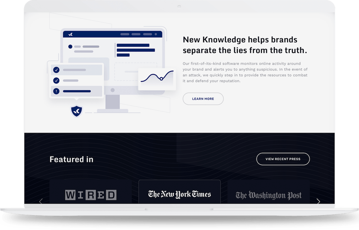 New Knowledge homepage with clear brand messaging