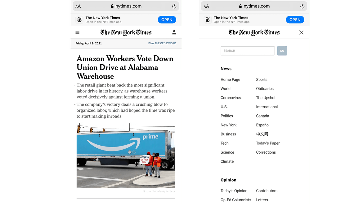 New York Times mobile side by side example
