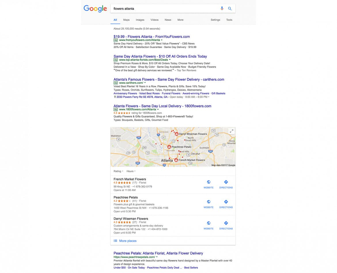 PPC ads display before organic search results
