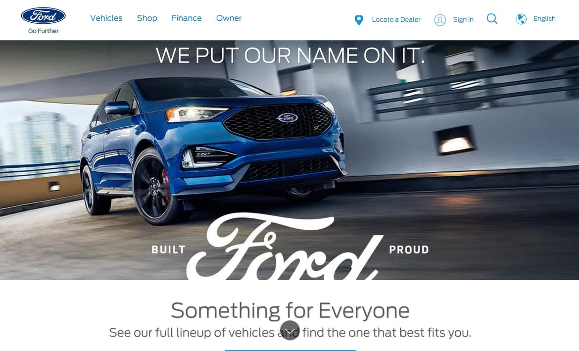 Product-focused hero image example from Ford.